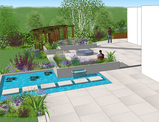 3D render of a bespoke garden design