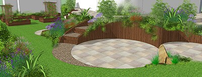 A 3D design of bespoke garden design