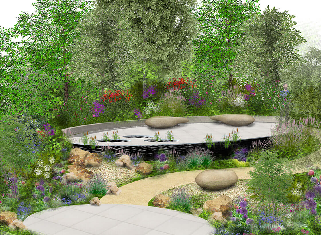 3D render of a full garden design