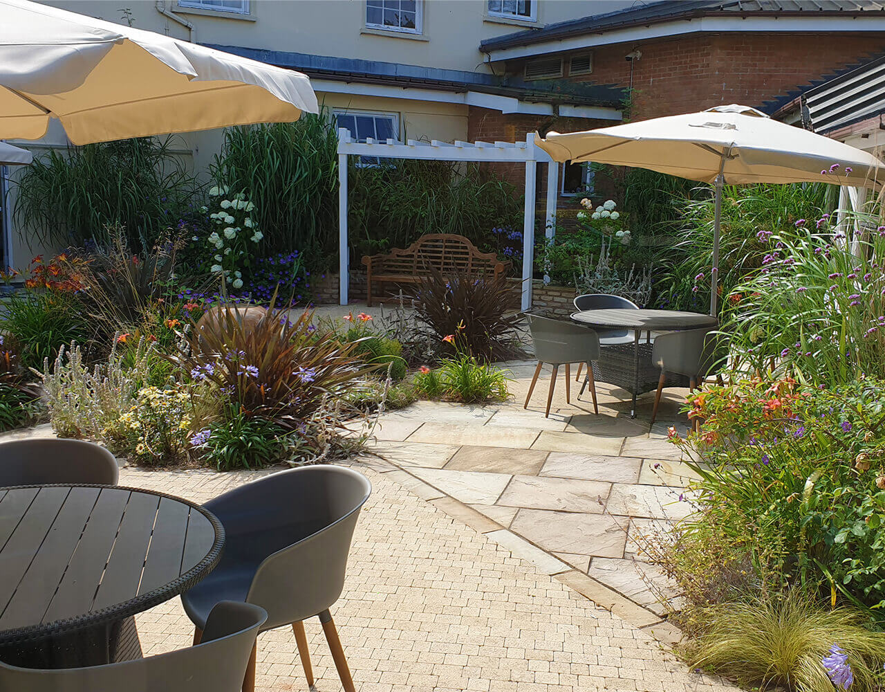 Outside patio area with garden furniture
